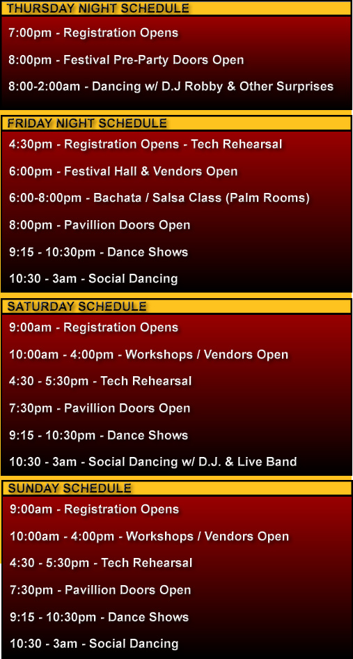 SDSF Schedule of Events